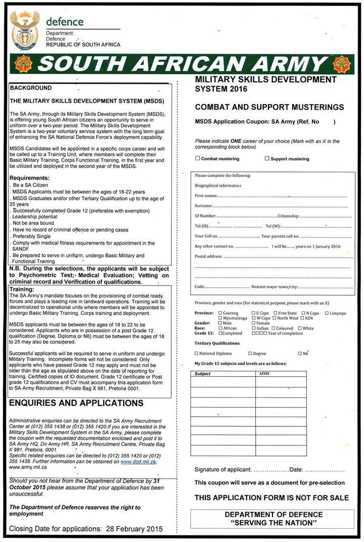 ... application form to SA Army Recruiting, Private Bag X 981, Pretoria