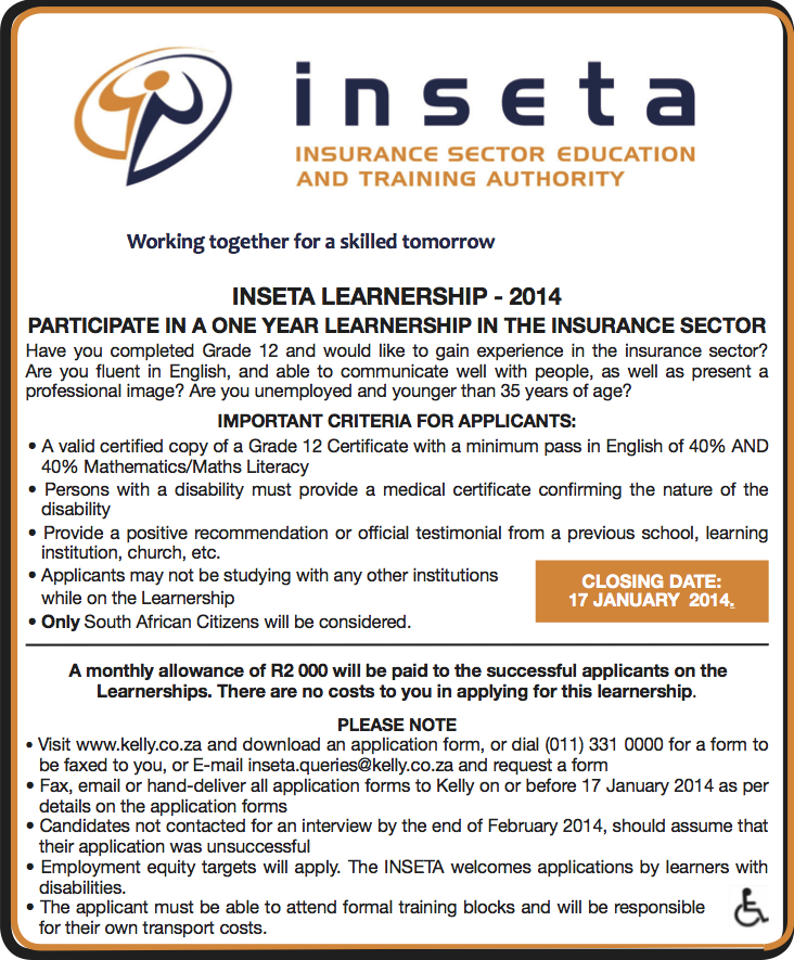 Inseta Insurance Learnerships 2014